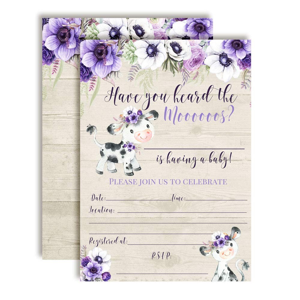 Watercolor Floral Cow-Themed Baby Sprinkle Shower Invitations, 20 5''x7'' Fill in Cards with Twenty White Envelopes by AmandaCreation