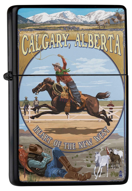 Accendino Benzina Ricaricabile Antivento Cowboy di Calgary Leotie GmbH