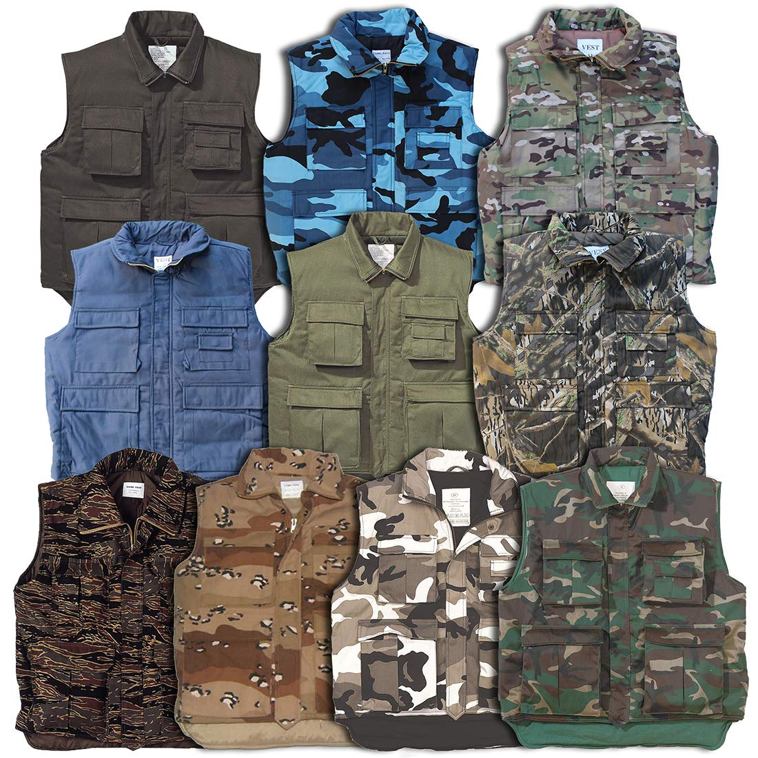 Romeo Trading Co Ltd. RTC Padded Vest Bodywarmer (X-Small, Woodland)