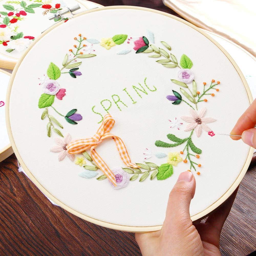 Einstellbare Stickerei Tool Kit Handwerk Owoda Silk Ribbon Embroidery Kit 1 Stickrahmen,1 Vorlage,Farbband Nadel Stickgarn f/ür DIY Kunst N/ähen,Blumenstrau/ß Wandbilder