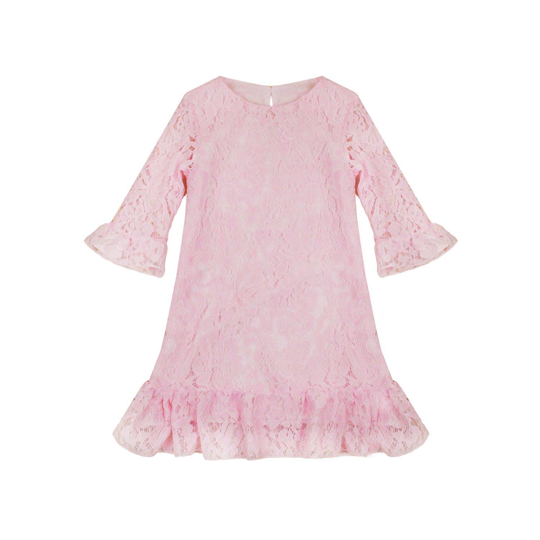 Abbyabbie.Li Girl Dress Lace Toddler Flounce Flower Girls Dresses with Sleeves (4, Pink)