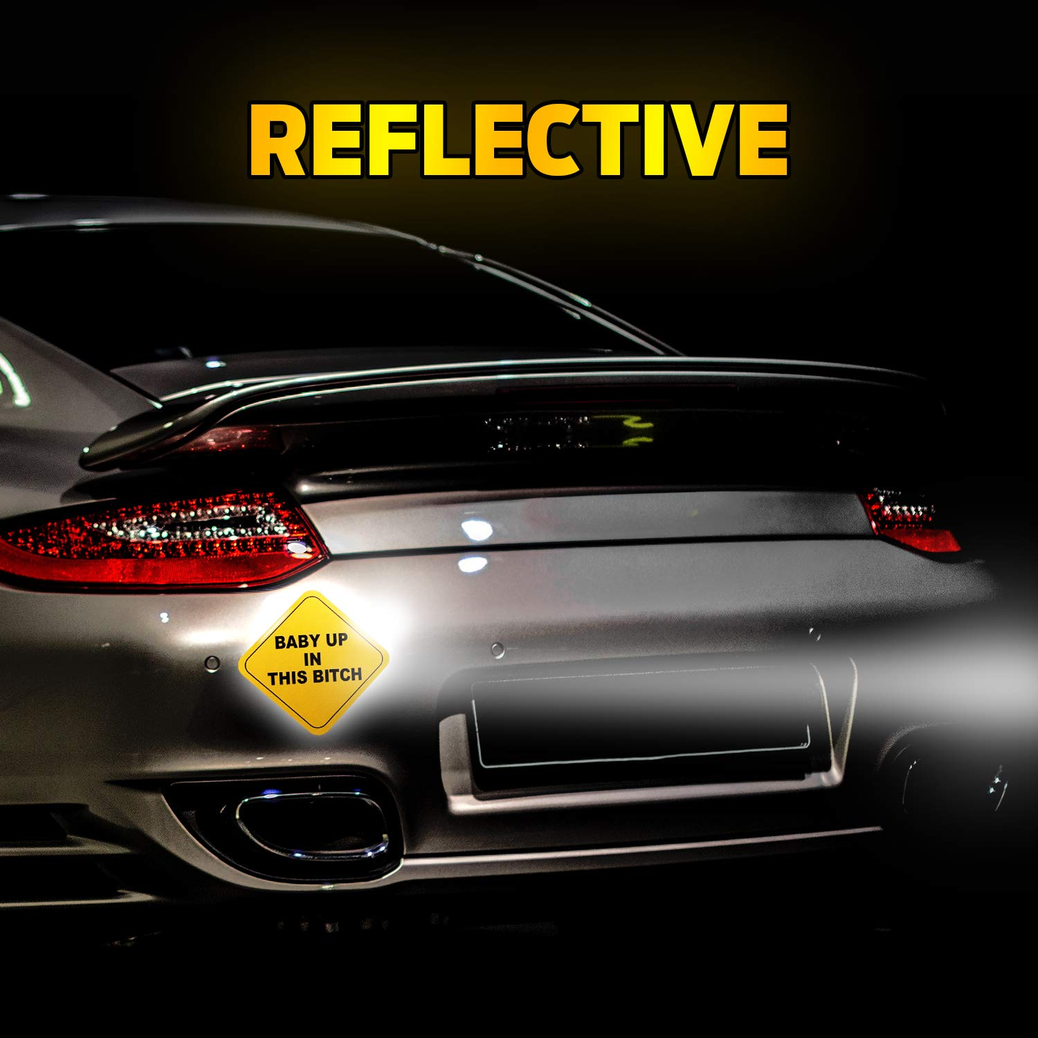 Reflective Car Magnets Baby Up in This B 2 Pack Weatherproof//Durable 5x5 Alme 10PL65410-99517