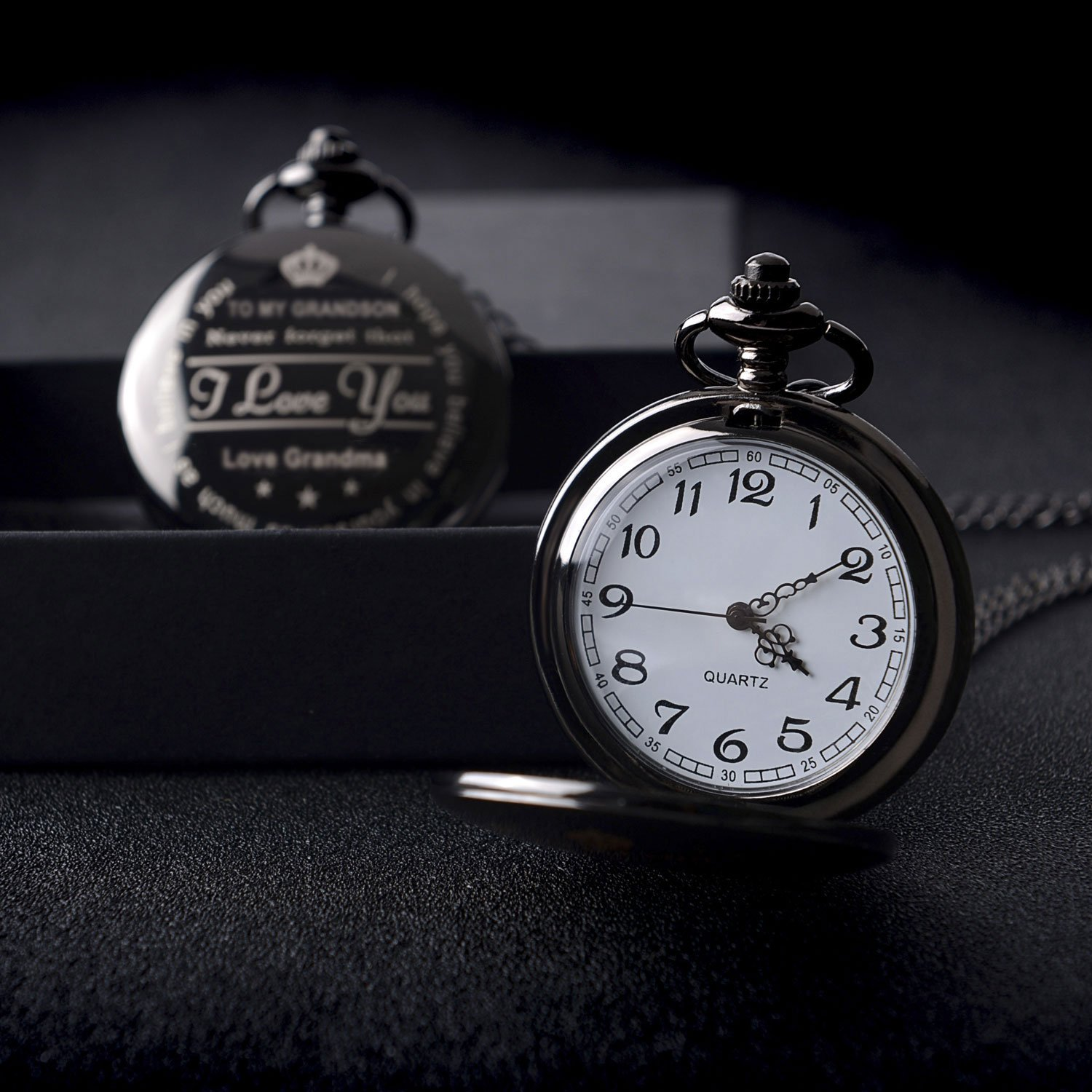 Pocket Watch ''To My GrandSon - Love Grandma(Love Grandpa)''Necklace Chain From Grandparents to Grandson Gifts with Black Gift Box By Qise (Love GrandMa Black) by Qise (Image #5)