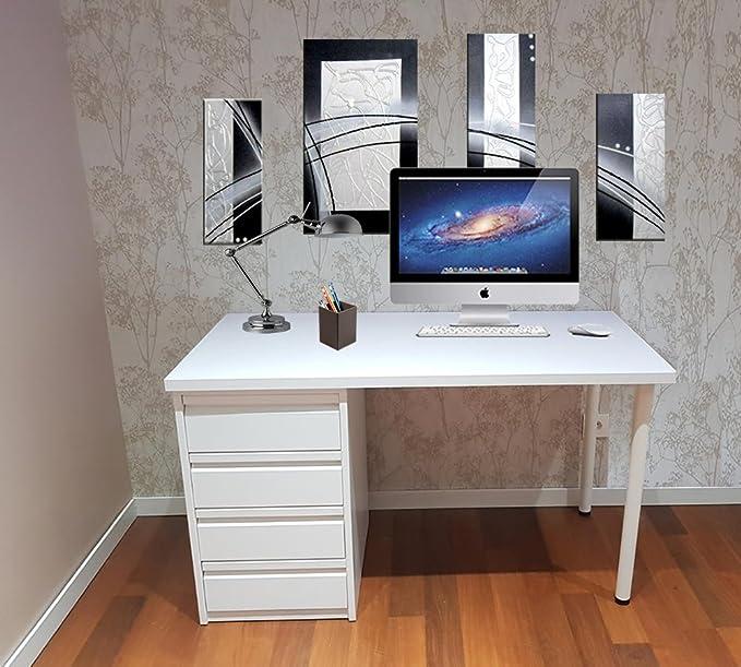 Mesa de escritorio blanca montada lista para ser utilizada de 110 cm - Una mesa de estudio juvenil con cajonera blanca de 4 cajones usada para mesa de ...