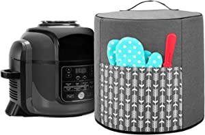 Yarwo Pressure Cooker Cover Compatible with 6.5 qt and 8 qt Ninja Foodi, Small Appliance Dust Cover with Top Handle and Pocket for Attachments, Gray with Arrow