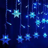 Amazon.com : Set of 50 Blue LED Snowflake Christmas Lights - Green Wire : String Lights : Patio ...