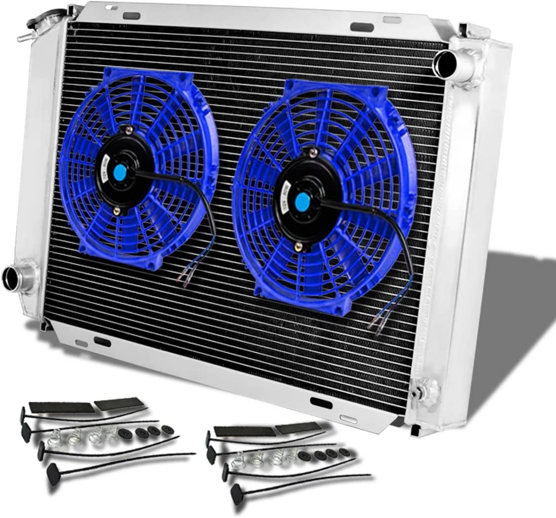 3-Row Racing Radiator+2 x 10 inches Red Fan Manual Transmission For Ford Mustang 3rd Gen