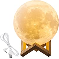 Moon Lamp Night Light Lunar Lamp Touch Control Dimmable Warm And Cool White, Extra Large Rechargeable 7.1inch Bedroom Decorative Light With Wooden Base And USB Charger, Gift For Anniversary Kids