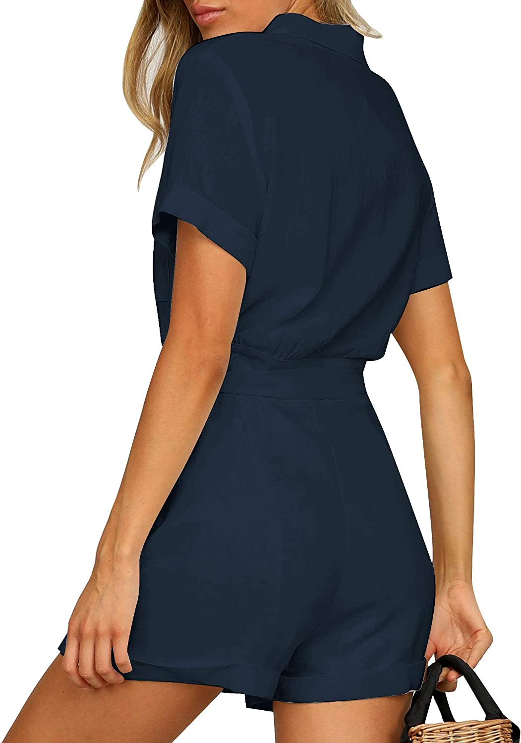 Vetinee Womens Summer Pocket Belted Romper Button Short Sleeve Jumpsuit Playsuit