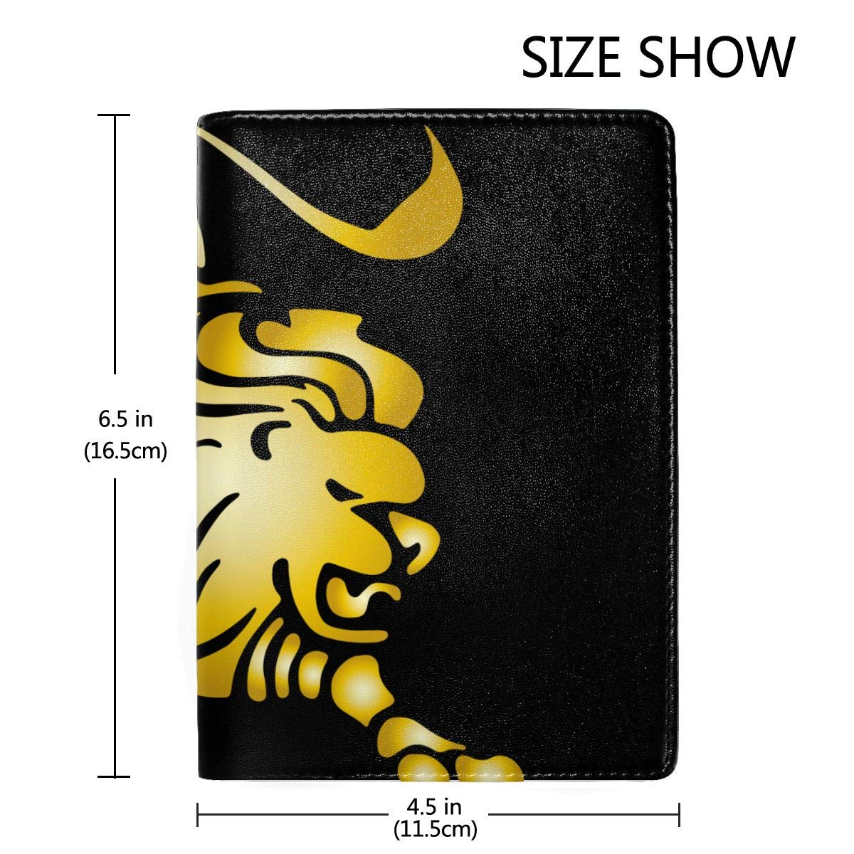 Gold Zodiac Leo Fashion Leather Passport Holder Cover Case Travel Wallet 6.5 In
