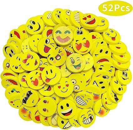 gelb INTVN 40 St/ück Emoji Smiley Radiergummis f/ür Kinder Spielzeug Gastgeschenk Geschenke f/ür Geburtstag Party Festival neues Jahr Weihnachten