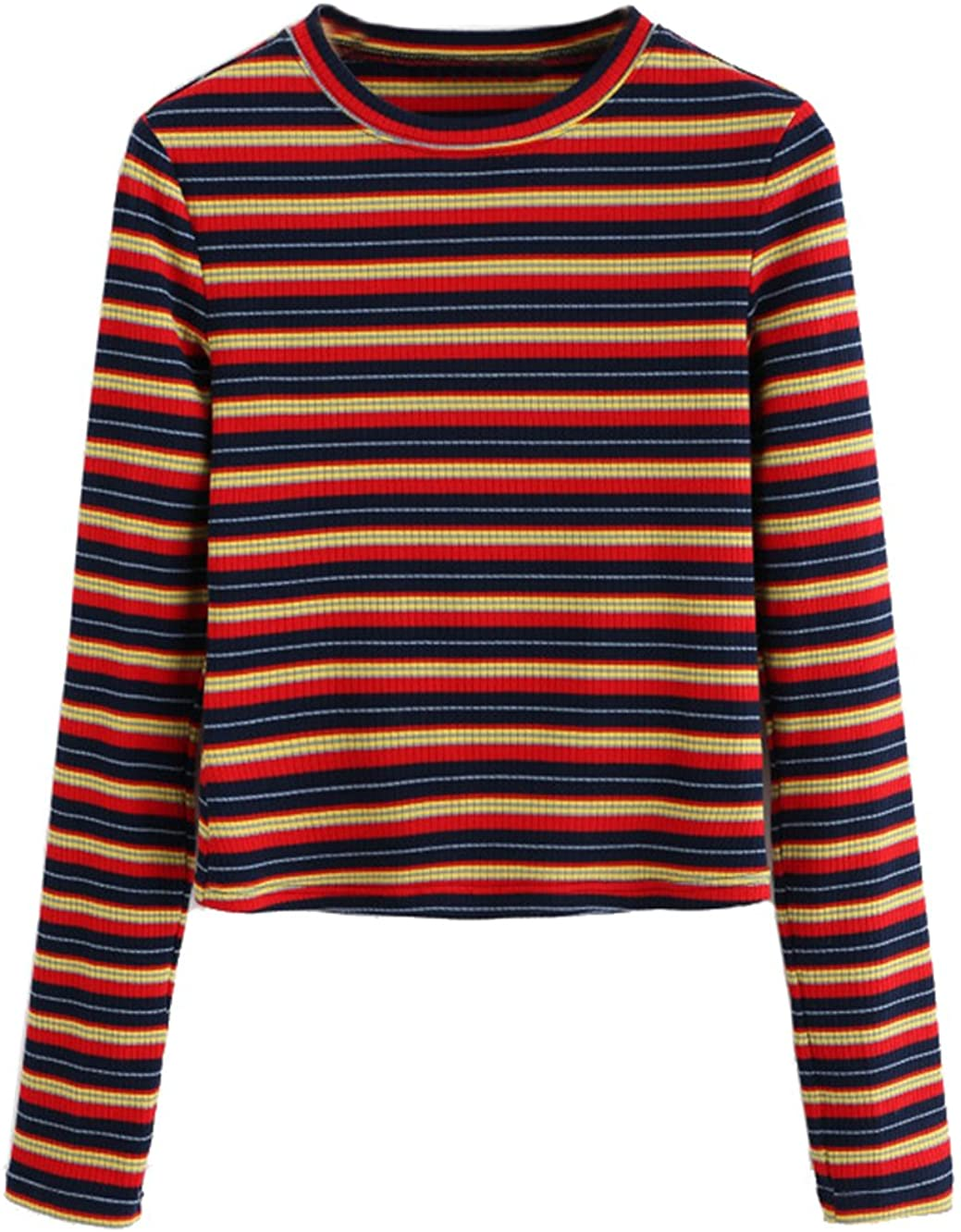 70s Clothes | Hippie Clothes & Outfits Milumia Womens Casual Striped Ribbed Tee Knit Basic Crop Top $19.99 AT vintagedancer.com