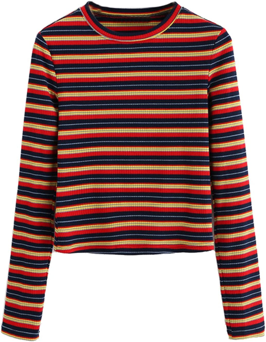 Women's 70s Shirts, Blouses, Hippie Tops Milumia Womens Casual Striped Ribbed Tee Knit Basic Crop Top $19.99 AT vintagedancer.com