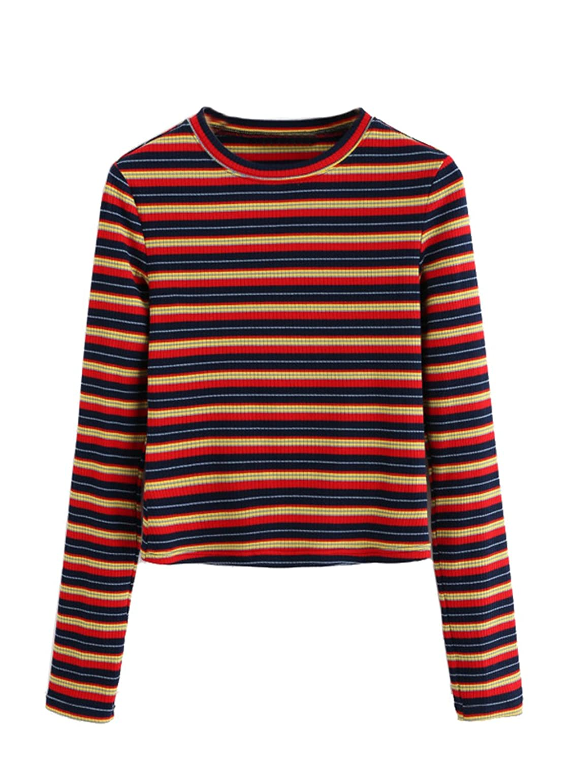 1960s Fashion: What Did Women Wear? Milumia Womens Casual Striped Ribbed Tee Knit Crop Top $15.99 AT vintagedancer.com