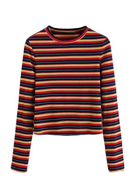 b63ea60db6 Milumia Women's Casual Striped Ribbed Tee Knit Crop Top X-Small A-Multi