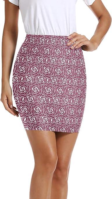LUPINZ Mini Falda elástica Ajustada con Estampado de Rosas ...