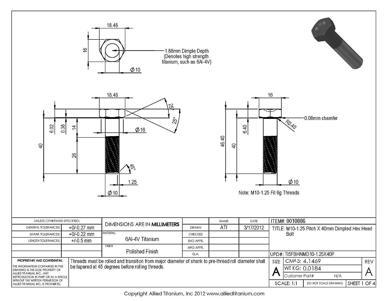 Titanio M8 x 60 mm 1,25 Mm Pitch Cabeza Hexagonal De Perno de 16 mm de ancho de brida grade5