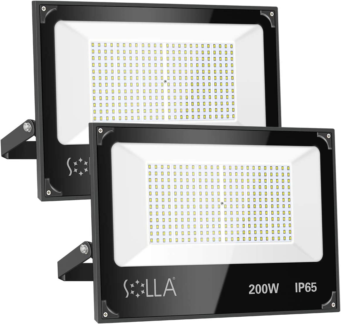 2 Pack SOLLA 200W Led Flood Light, 16000lm 6000K Daylight White Security Light Exterior Flood Lighting, Outdoor Indoor Lighting Fixture Landscape Floodlight Spotlight for Yard, Garden, Garage, Rooftop: Home Improvement