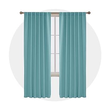 Deconovo Verdunkelungsvorhang Schlaufen Gardine Wohnzimmer Vorhang  Blickdicht Schlaufen 245x140 cm Himmelblau 2er Set