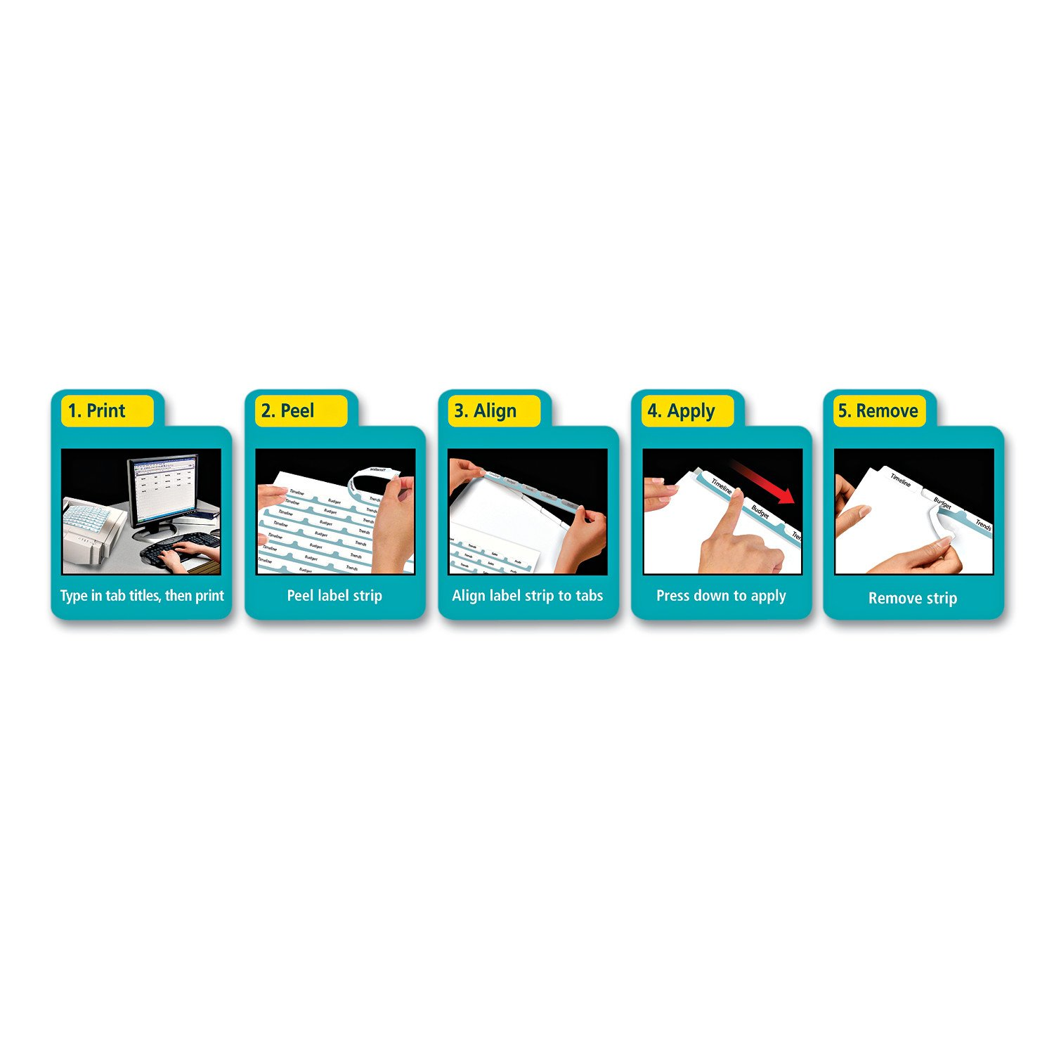Avery Index Dividers, Print & Apply Clear Label, Index Maker Easy Apply Strip, 5 Printable Tabs, 5 Sets (11580) by Avery (Image #2)