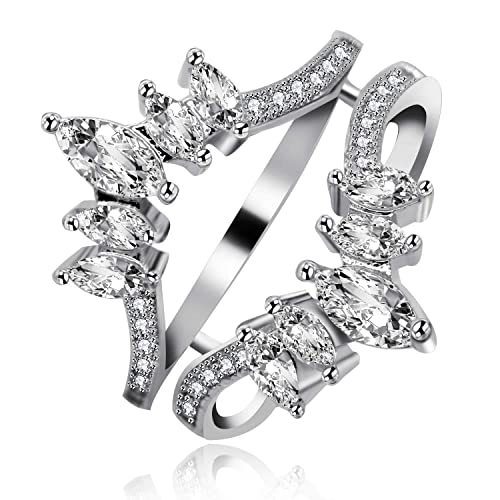 0fefc69af8e15 Uloveido Women Marquise Cut AAA White Cubic Zirconia Double Wedding Band  Ring Guard Enhancer Engagement Y445