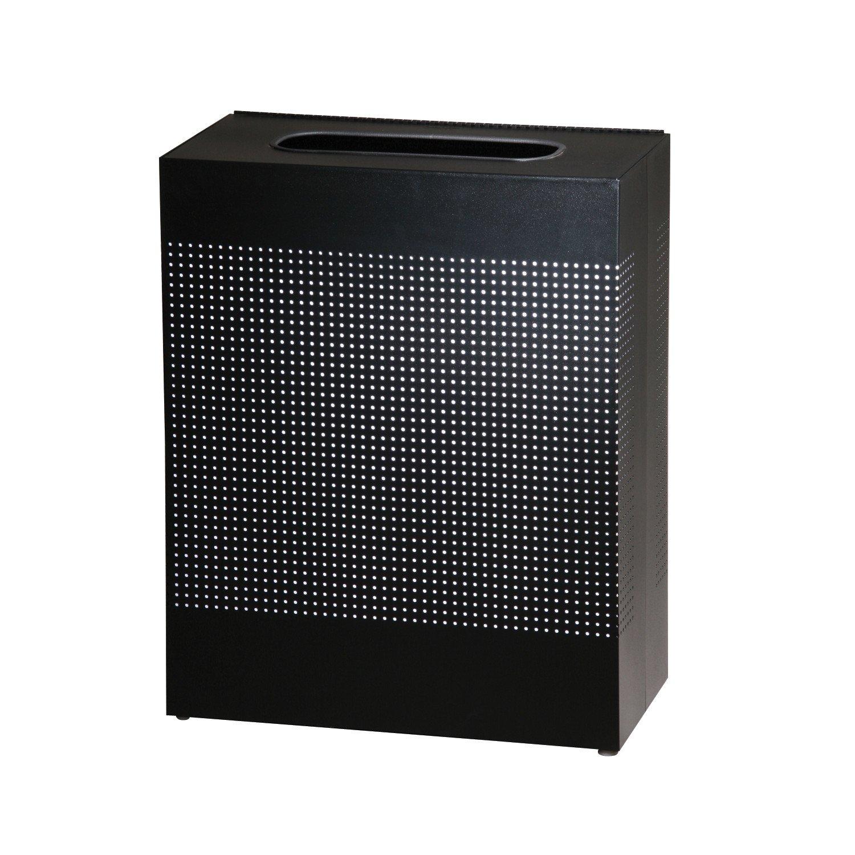 CDM product Rubbermaid Commercial Silhouette Designer Wastebasket, Rectangular, 22 1/2-Gallon, Black (FGSR18EPLTBK) big image
