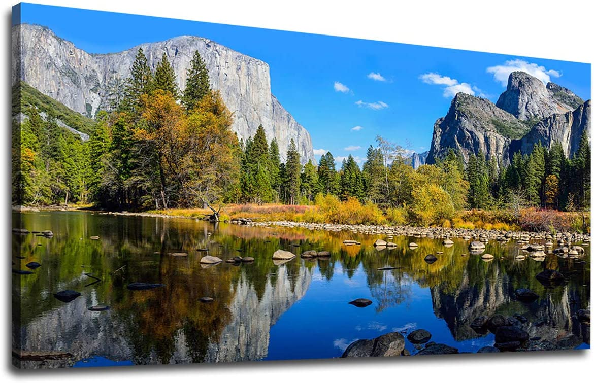 Canvas Wall Art Lake Mountain Picture for Bedroom Living Room Decorations Yosemite National Park Canvas Artwork Landscape Nature Pictures for Office Home Wall Decor 20