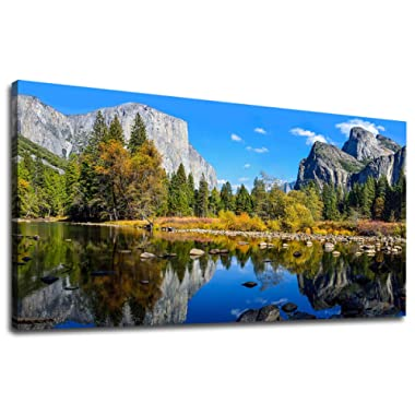 Large Canvas Wall Art Mountain and Lake Landscape Picture Canvas Art Yosemite National Park Green Forest Blue Lake Water Contemporary Nature Artwork for Home Decoration Office Wall Decor 24  x 48