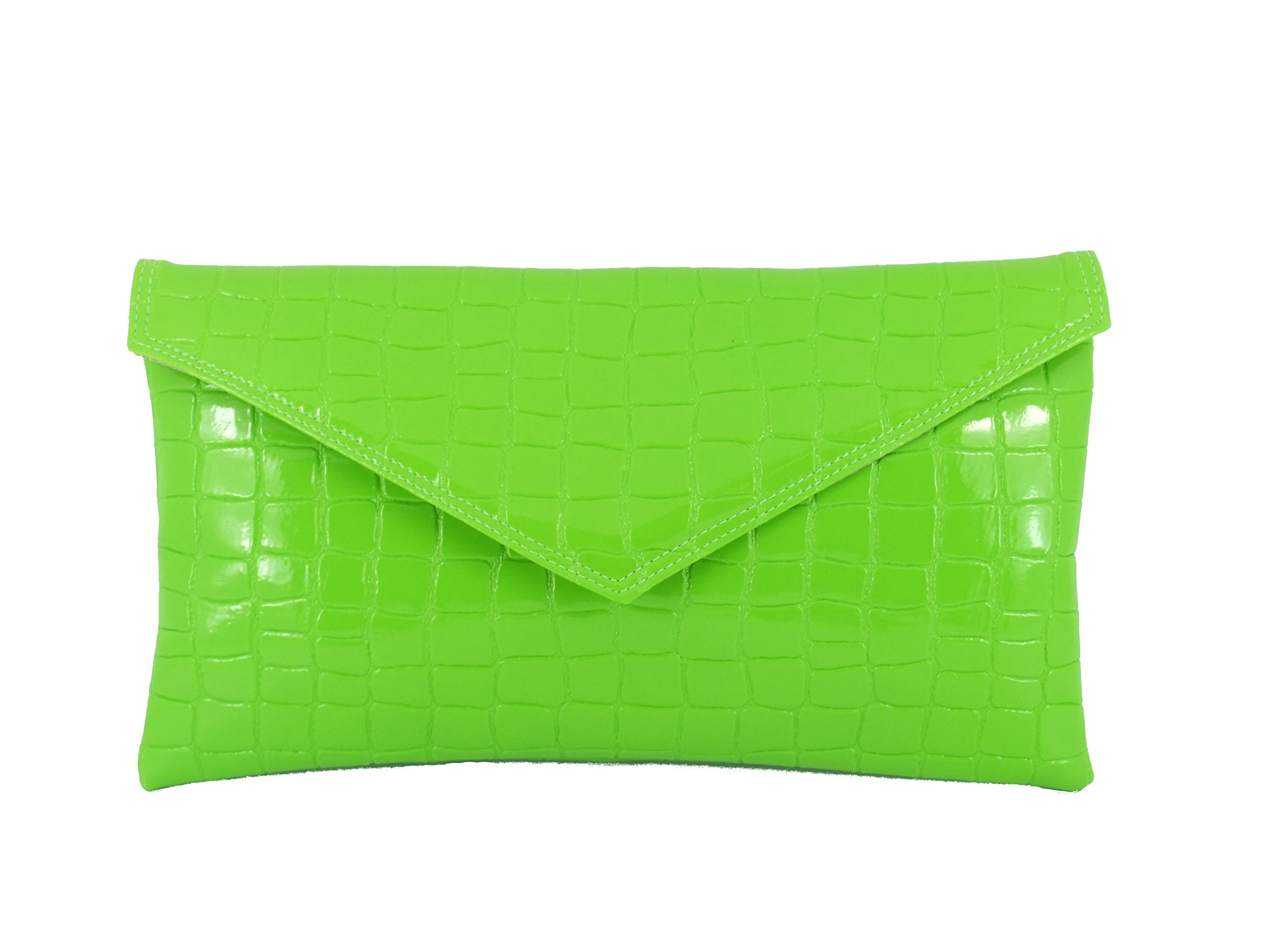 Loni Womens Neat envelope patent croc clutch bag in Lime Green