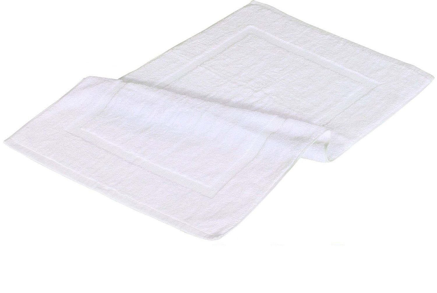 GHP 3-Pcs White 20''x30'' Poly/Cotton Single Cam Border Absorbent Hotel Bath Mats