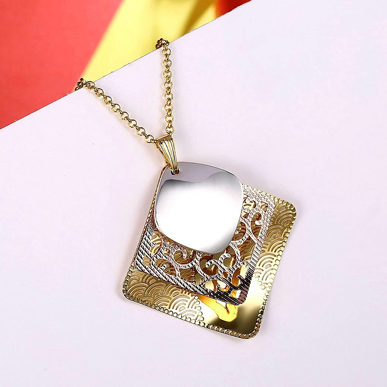 Gnzoe Jewelry Women Stainless Steel Necklace Square Welle Hollow Colorful Women Chain 46+6CM