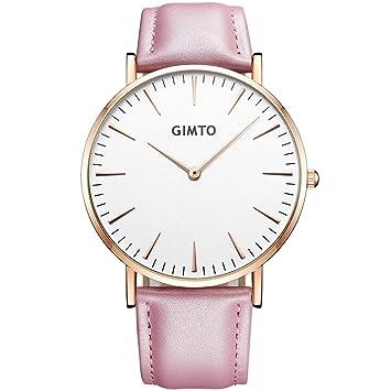 Bendwy Elegante reloj de mujer minimalista Neutral estudiantes de secundaria casual hombres y mujeres marca mesa cinturón pareja tabla (Color : G): ...
