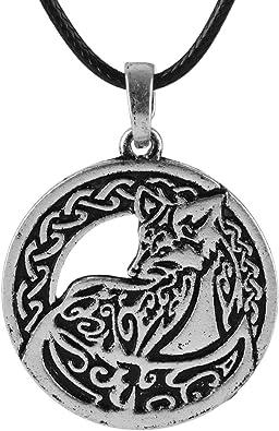 Amazon.com: QIANJI Collar con colgante de zorro étnico celta ...