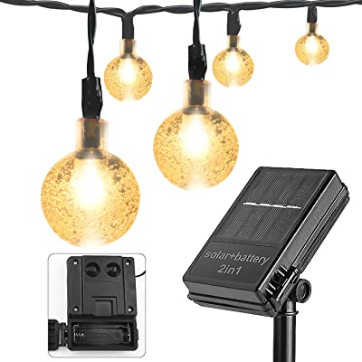 Solar and Battery Powered String Lights - 21FT Waterproof 30 LED 8 Modes Outdoor String Lights Globe String Lights Patio Lights for Backyard Garden Balcony Pergola Wedding Party Decor (Warm White) : Garden & Outdoor
