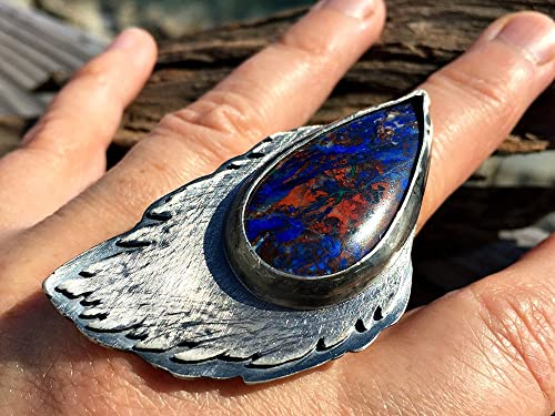 Gothic Traditional Christmas Armor Gypsy Boho Massive Ring India Gift Warrior Ashvins Elf Tribal Fusion Sterling Silver 925