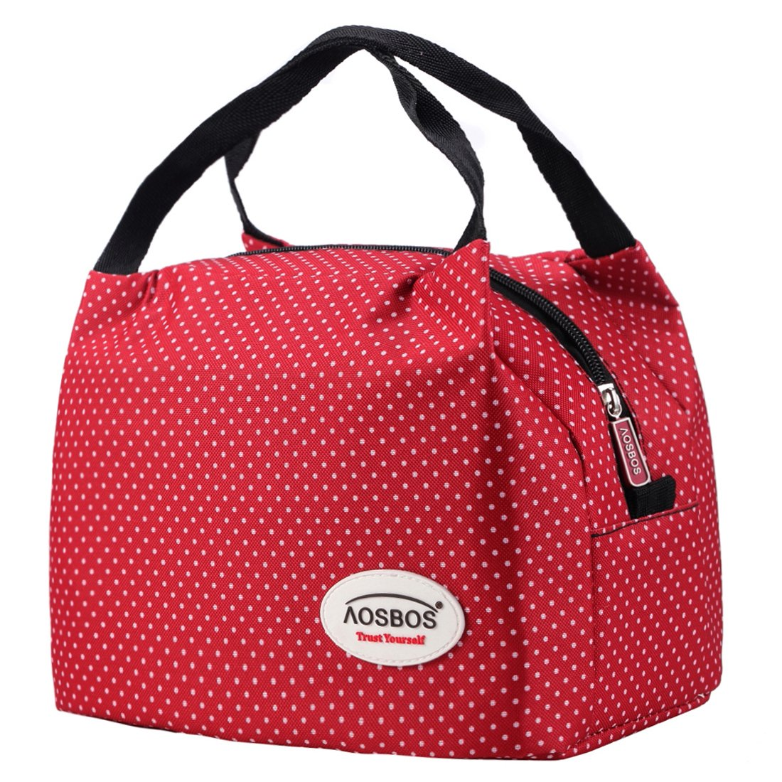 Aosbos Recycled Insulated Lunch Box Tote Cooler Bag Polka Dots Red Amazoncouk Kitchen Home