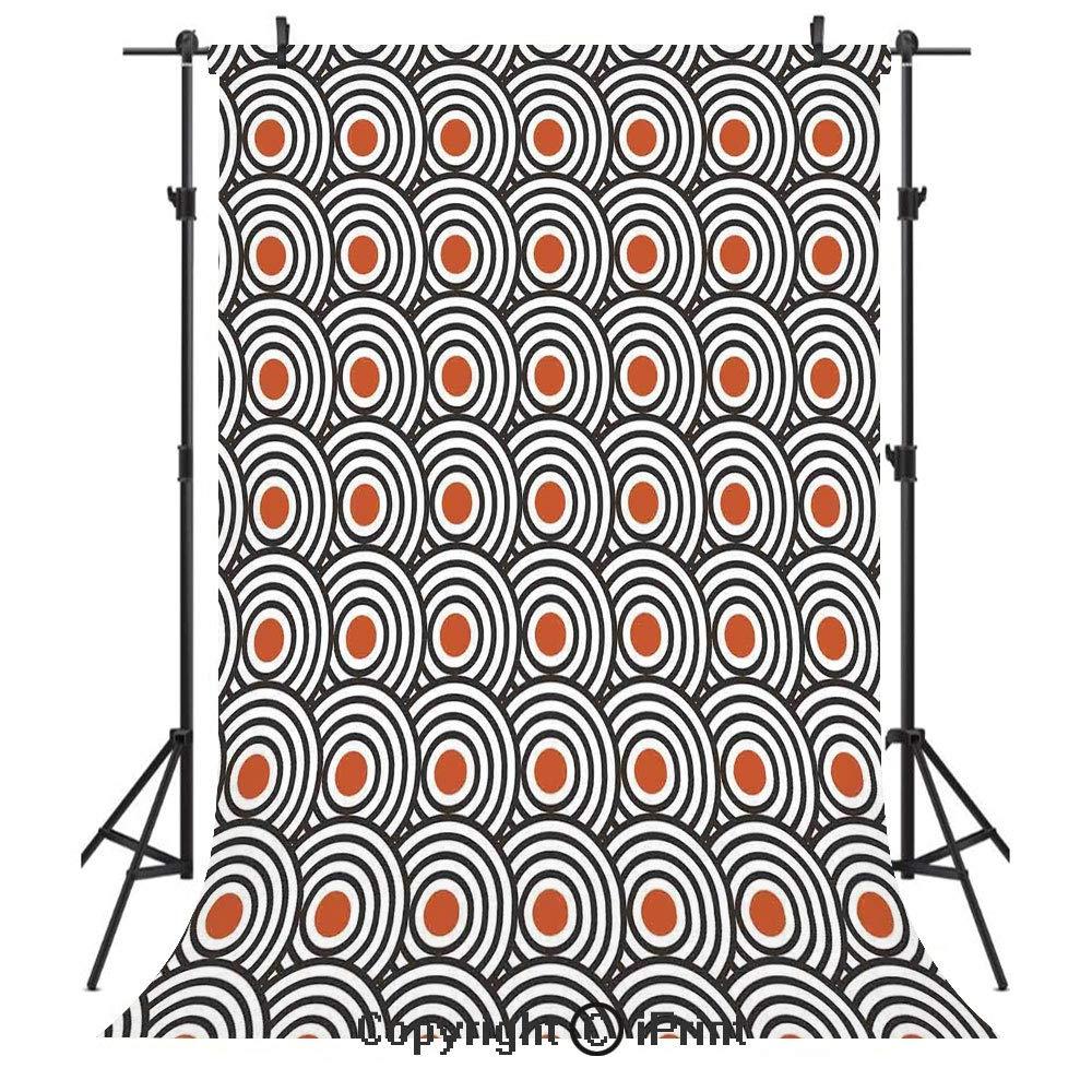 モダンアート写真背景幕 ニューエイジレトロミニマリスト 濃縮 渦巻き模様 抽象的 アート装飾 誕生日パーティー シームレスフォトスタジオブース背景幕 3x5フィート オレンジチャコールグレー 3X5ft B01 B07QC6XY5K