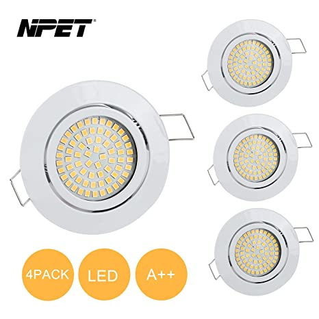 Paquete de 4 lámparas empotrables LED para techo de la marca NPET, 3