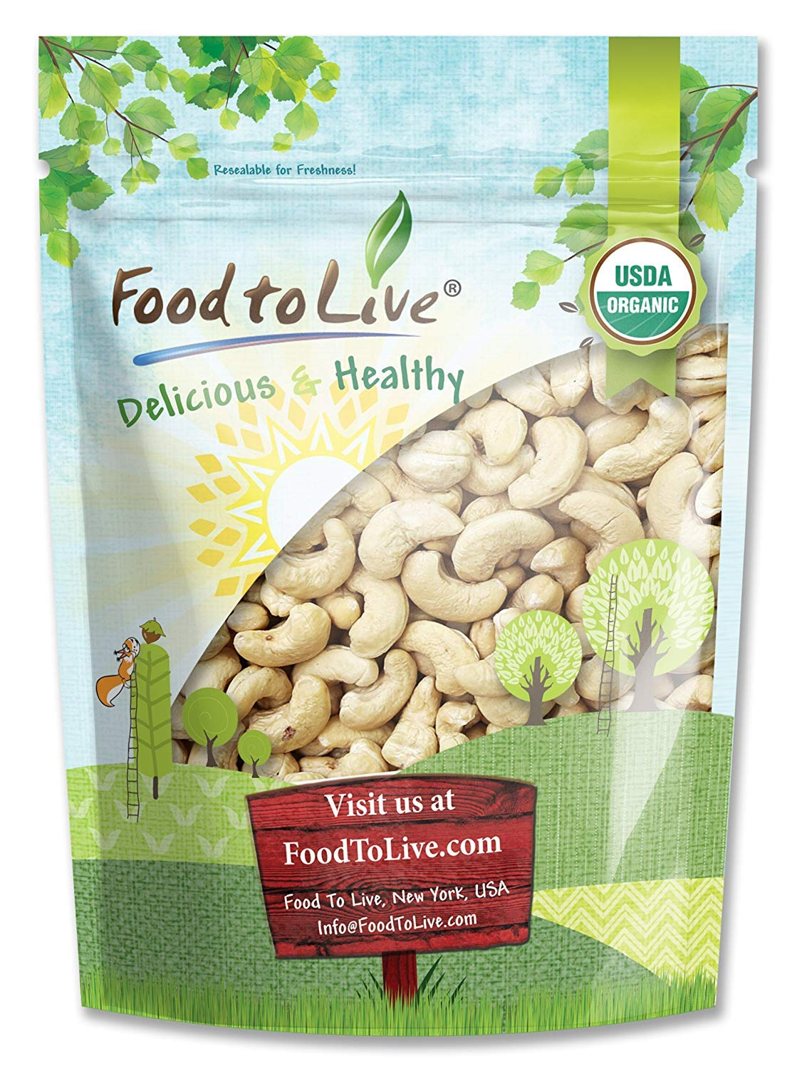 Organic Raw Cashews by Food to Live (Non-GMO, Whole, Unsalted, Bulk) — 8 Ounces