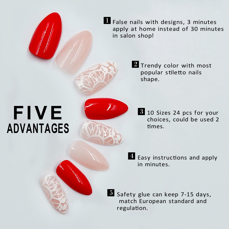 Amazon.com : Stiletto False Nails 24 Pieces Fake Nails with Designs ...