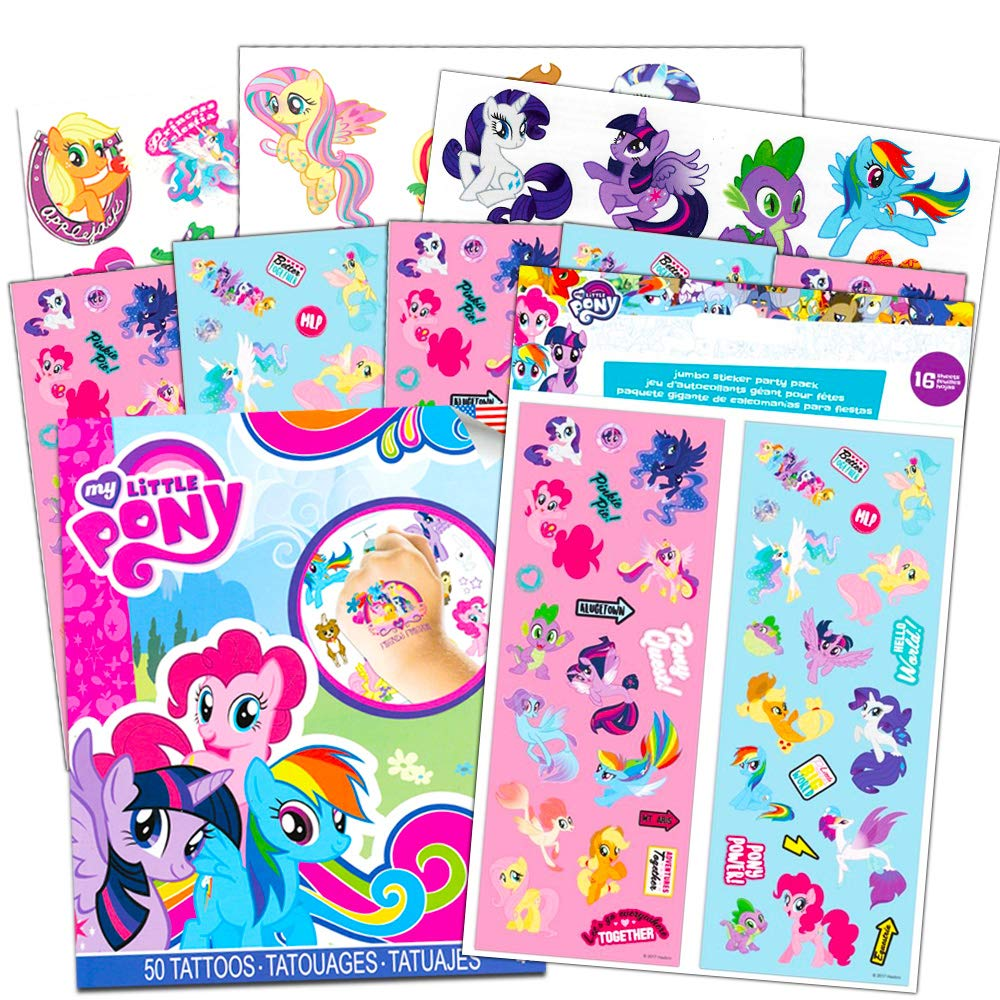 Amazon com my little pony stickers and tattoos party favor pack bundle includes 70 stickers and 50 temporary tattoos toys games