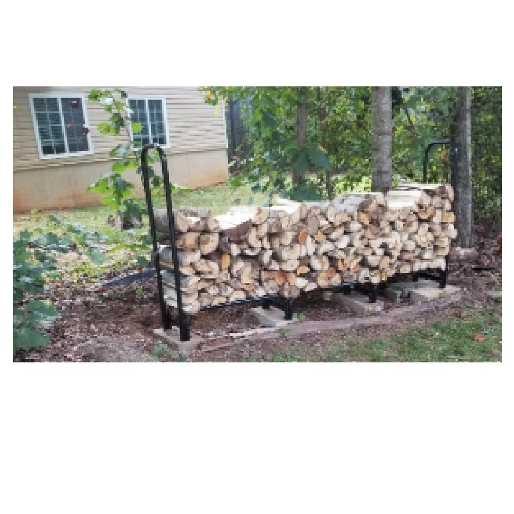 8ft Log Rack with Cover Rustic Fire Pit 8 feet Fireplace Outdoor Heavy Duty Holder Firewood Metal Covered Storage Large Steel Wood Easy Assembly Lightweight Protect Cover Black & Ebook by OISTRIA by Unknown