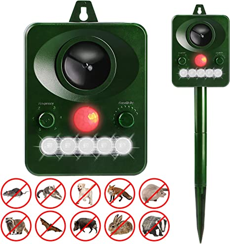 Repellente Solare per Talpe per Gatti Solare Repellente Ultrasuoni con Ricarica Solare e USB Cani Animali Repeller Impermeabile con LED Repellente per Gatti Repellente per Animali Topi