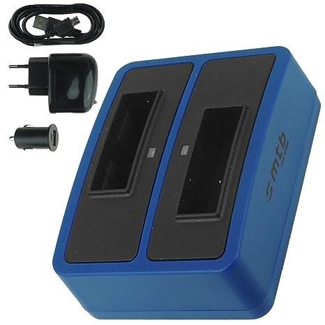 Cargador doble (USB/Coche/Corriente) para Sony NP-BX1 / Sony Action Cam HDR-AS10, AS15, AS20, AS30(V), AS100V, AS200V / FDR-X1000V... v. lista