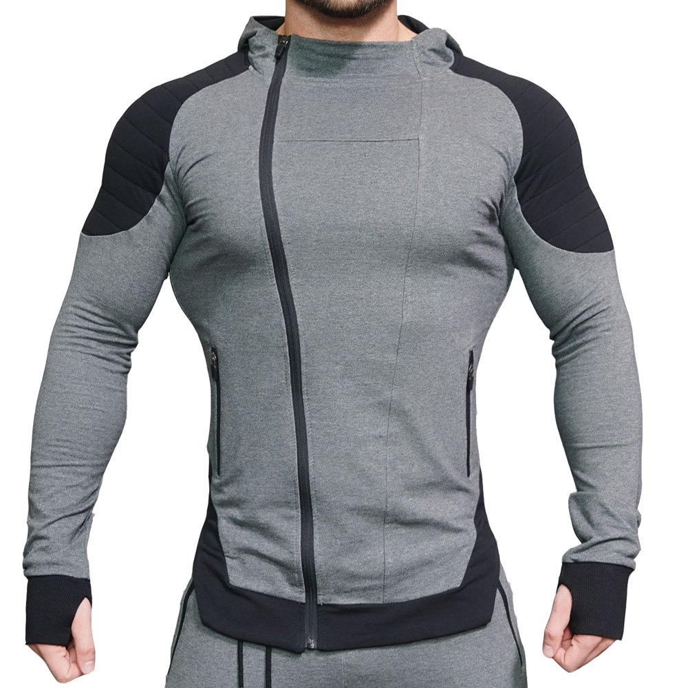 EVERWORTH Men's Fitness Workout Long Sleeve Hoodie Active Muscle Bodybuilding Zip Jackets with Zipperd Pockets (US Small/Tag L(Chest:34''-36''), Gray)