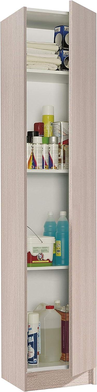 Habitdesign 007141R - Mueble Armario Multiusos 1 Puerta, Color Roble, Medidas: 37 cm (Largo) x 182 cm (Alto) x 37 cm (Fondo)