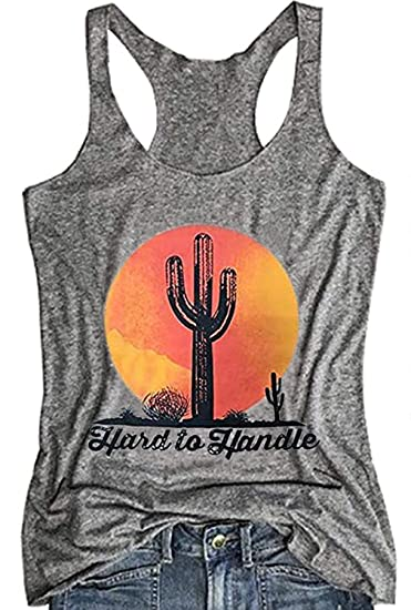 6781ad7767 Amazon.com: Womens Hard to Handle Cactus Workout Yoga Tank Tops Cute  Vintage Texas Graphic Racerback Vest Sleeveless T Shirt: Clothing