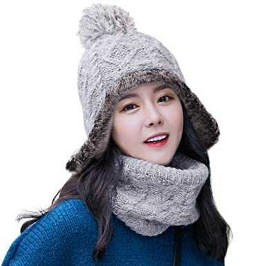 SIGGI 2 Piece Wool Knit Hat   Scarf Sets Wool Peruvian Beanie Earflap Hat  Womens Winter cc48a414cc