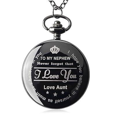 Amazon.com: Reloj de bolsillo Qise para mi sobrino, collar ...