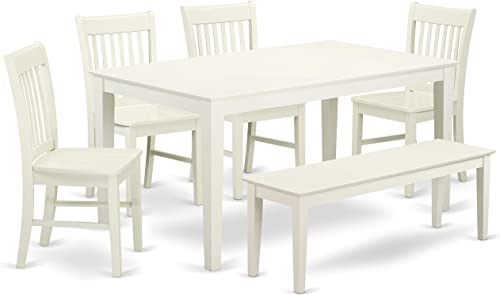 East West Furniture CANO6-LWH-W Wooden Dining Table Set 6 Piece
